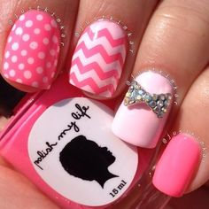 """Neon neail from justkimkar using this is """"Hot Cosmo"""" and """"Pink Sandals"""". Chevron design created with #nailvinyls."""