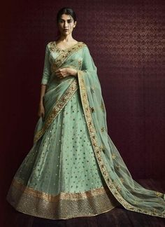 Pista Green Net Lehenga Embellished with Sequins