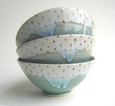 Blue and Red Polka Dot Porcelain Bowl door SilverLiningCeramics, $36.00