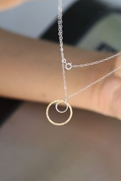 Layered Circle Two Tone Minimalist Sterling Silver and 14K Gold Filled Necklace