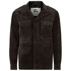 Burberry London Corsby Suede Field Jacket ($3,600) ❤ liked on Polyvore featuring men's fashion, men's clothing, men's outerwear, men's jackets, mens military style jacket, mens suede leather jacket, mens military field jacket, burberry mens jacket and mens suede jacket