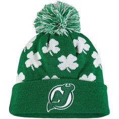 reputable site 01b05 29a6e New Jersey Devils Old Time Hockey St. Patrick s Day Aiden Cuffed Knit Hat  with Pom - Green