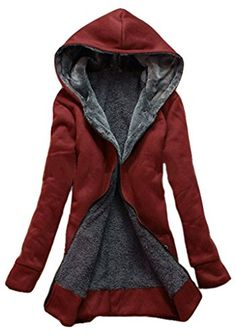 Shanmou Women s Long Winter Polar-Fleece Thickened Coats Jackets(Claret 57458cfcd76