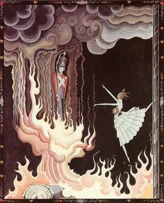 Tin soldier and dancer, by Kay Nielsen illustration to The Flying Trunk (Hans Christian Andersen)