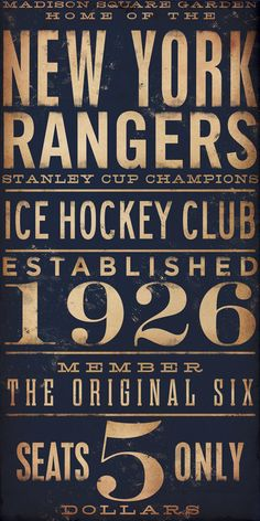 I'm such a sucker for the typography // New York Rangers hockey club graphic art artwork archival Giclee print 10 x 20 inches. $25.00, via Etsy.