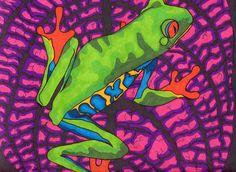 Frogadelic impression (grenouille arc-en-ciel psychédélique en dessin animé marqueur néon)