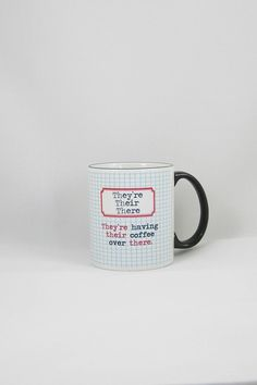 Grammar- themed coffee mug! Design is heat pressed into the mug so they are won't ever fade. They are also scratch proof and dishwasher safe  Measures 11 oz.  Grammar Coffee Mug by Fly Paper Products. Home & Gifts - Home Decor - Dining - Dinnerware Rhode Island