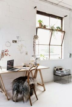 home office, all white, white and wood, scandinavian style, wooden desk