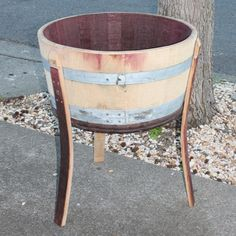 Standing half wine barrel planter by jaycwoodworks on Etsy, $75.00