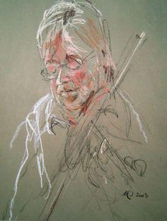 Violinisten Pastelkridt pĺ tonet papir