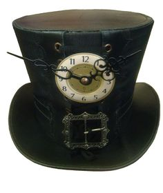Steampunk Handmade  black suiting fabric black Top Hat with clockface #SDL #SteampunkGothicVictorian