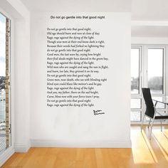 Dylan Thomas poem, do not go gentle into that good night wall art (wa089) 81cm x 120cm