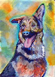 Colorful German Shepherd Dog Painting, Alsatian dog Print , watercolor and acrylic GSD owner gift, German Shepherd painting wall art print choice of sizes.  This colorful German Shepherd GSD dog is full of character and sure to brighten up any wall you choose to hang it on. Choice of sizes to fit many popular mounts and frames.  I created the original painting using watercolor, colored ink and acrylic paint and it is now available to you as a signed giclee print on quality heavy matte…