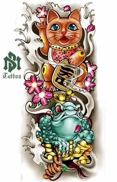 I honestly am keen on the tints, lines, and depth. This really is the perfect tattoo design if you want inspiration for a Japanese Tattoo Art, Japanese Tattoo Designs, Japanese Sleeve Tattoos, Japanese Art, Foo Dog Tattoo, Daruma Doll Tattoo, Lucky Cat Tattoo, Full Hand Tattoo, Japan Tattoo Design