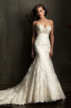 Strapless wedding dress ...wow I wonder if that would look good being short.