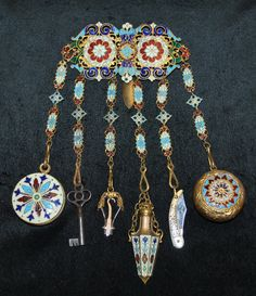 Enameled, 6pc chatelaine:  mirror, key, button hook, perfume flask, pocket knife, compact w/down puff.  French.