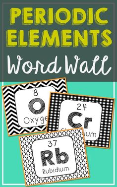 Periodic Table of Elements Word Wall. Modern design and easy to see from a distance. Each of the 118 element posters has been created in black and white for super easy printing. So many uses for these!