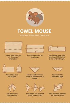 DIY How To Fold 6 Animal Towels Directions for how to fold: Swan Towel Monkey Towel Elephant Towel Crab Towel Mouse Snake Find the infographic from Terrys Fabrics here. Baby Shower Cakes, Baby Shower Parties, Baby Shower Gifts, Baby Gifts, Toilet Paper Origami, Towel Origami, Dating Divas, Elephant Towel, Towel Animals