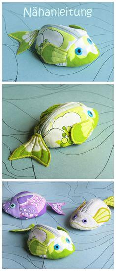 Nähanleitung für Schnullertaschen in Form von kleinen Fischen, Nähen für Babys / diy sewing pattern: little pocket for a soother, sewing for kids made by orimono via DaWanda.com