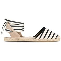 Soludos Striped Espadrille Sandals (815 ZAR) ❤ liked on Polyvore featuring shoes, sandals, flats, espadrilles, black, black sandals, summer shoes, espadrille flats, striped flats and flat pumps