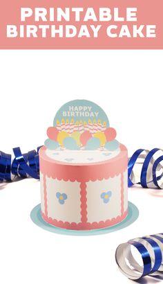 Create a fun Happy birthday cake. Free Printable
