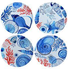 Margaret Berg Art: Coastal Coral Plate Set
