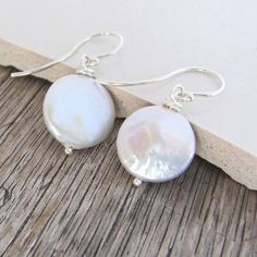 Simple Classic White Coin Freshwater Pearl by TwistedSilverDesign
