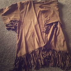 Hollister Brand Faux Suede Kimono! Brown faux suede short sleeved kimono with fringe. Hollister Sweaters Shrugs & Ponchos