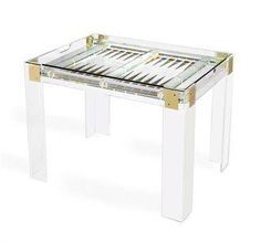 Acrylic Backgammon Table with Polished Brass and Silver Details