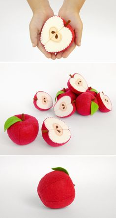 Felt play food Apple Red by MyFruit I suggest you to buy realistic stuffed toys, made of felt for your little ones. For playing the Garden Harvest Kitchen Shop etc.  Attention! You SAVE 10% - if you buy 1 whole Apple and 1 half Apple in one order!  —————————————————————  ♥ unique design, are just like real ♥ small (2,5 in) and light (0,3 oz) ♥ safe for your children - do not contain plastic, glue and wire  The most popular items in my store that you might be interested in: ❀ Playset Felt…