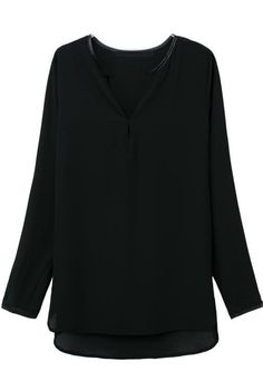 Black Long Sleeve Loose Dipped Hem Blouse - Sheinside.com