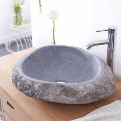 River Natural Pebble Stone Washbasin Rough Smooth Modern Design Bathroom | eBay