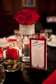 Happy 50th Wedding Anniversary party decoration ideas using red and black - think outside of the usual gold color #50thanniversary #weddinganniversary #fityyears
