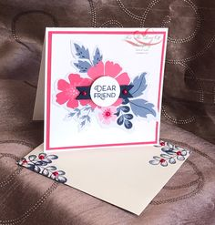 Everything is Rosy Created by Tracie St-Louis 2019 On Stage Quebec 3 x 3 that goes with the mini pizza box Everything's Rosie, Cards For Friends, Friend Cards, Diy And Crafts, Paper Crafts, Stampinup, Stampin Up Catalog, Card Kit, Flower Cards