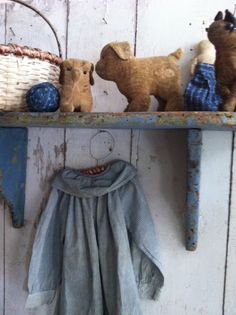 Early Cloth Toys.....purchased this sweet lil velvet pup on the right from 1800Primitives...I love him!!