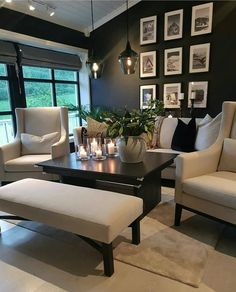 Amazing white and black living room! Decor Interior Design, Interior Design Living Room, Living Room Designs, Interior Decorating, Decorating Ideas, Decor Ideas, Living Room Ideas 2019, Home Living Room, Living Room Decor