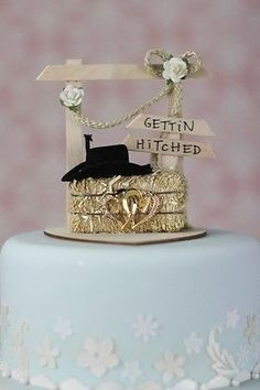 Gettin Hitched Western Country Cowboy Wedding Cake Topper with Hay Bale & Hat
