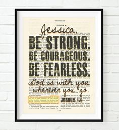 DIY your photo charms, 100% compatible with Pandora bracelets. Make your gifts special. Make your life special! Be Strong. Be Courageous. Be Fearless.-Joshua 1:9 Personalized Vintage Bible Verse ART PRINT