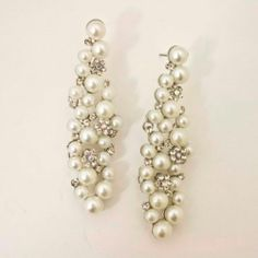 Jewelry & Watches Bridal & Wedding Party Jewelry Nina Odeta Crystal Ivory/off-white Organza Drop Earrings Wedding/bridal
