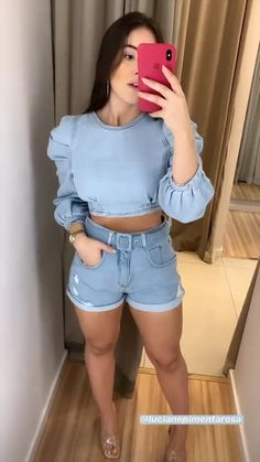 Spring Outfits Women, Trendy Outfits, Cute Outfits, Asian Fashion, Girl Fashion, Fashion Outfits, Denim Outfit, Girls Selfies, Feminine Style