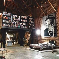 If I had a loft, it would so look like this. Is that a bookshelf up the stairs/ladder? And, the art canvas, I love it. My future house needs a loft with this layout and design. Loft Design, Deco Design, Design Case, House Design, Attic Design, Library Design, Design Room, Studio Design, Wall Design