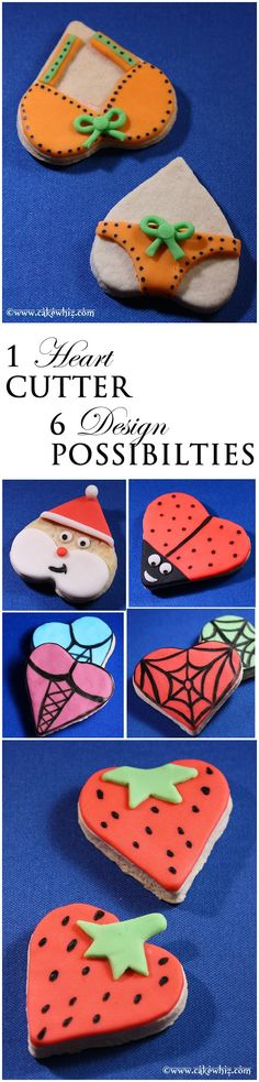 Use a single HEART COOKIE cutter to make 6 cute designs! Instructions included! From cakewhiz.com