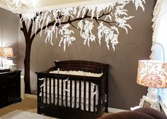 $110 for biggest size Cherry blossom wall decals tree decals baby nursery kids flower floral nature wall stickers- Cherry Blossom Tree **COLORS** Default color-Black