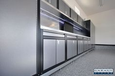 Silver garage cabinets by Hailey