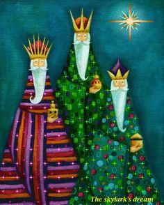 Ileana Oakley - wise men kings religious Re Mgi Nativity Crafts, Christmas Nativity, Christmas Art, Vintage Christmas, Christmas Decorations, Christmas Ornaments, Modern Christmas Cards, Christmas Images, Christmas Drawing