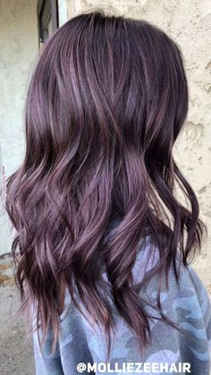 Hair color chocolate cherry highlights dark brown 26 Ideas - All For Hair Color Trending Ombre Hair, Balayage Hair, Purple Balayage, Haircolor, Brown Hair Colors, Purple Brown Hair, Subtle Purple Hair, Dark Hair With Color, Hair Color For Tan Skin Tone