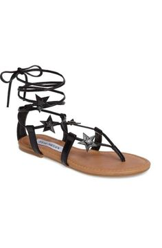 2a94880bcb17 Women s Steve Madden Jupiter Lace Up Sandal Slim metallic laces embellished  with shimmering stars wrap up and around your ankle in this barely there  sandal.