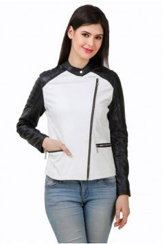 Be stylish even in winter season by wearing this white and black coloured full sleeved PU leather jacket for women #womensfashion #womensjacket #leatherjacket #winterwearforwomen