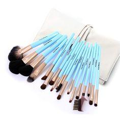 1. 18pcs blue handle makeup brush set;  2. High Quality Animal Hair Make Brush Set;  3. Eco-friendly Natural Wood Brush Handle.
