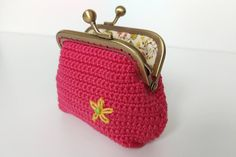 Floral coin purse in coral color kiss lock clasp frame girls